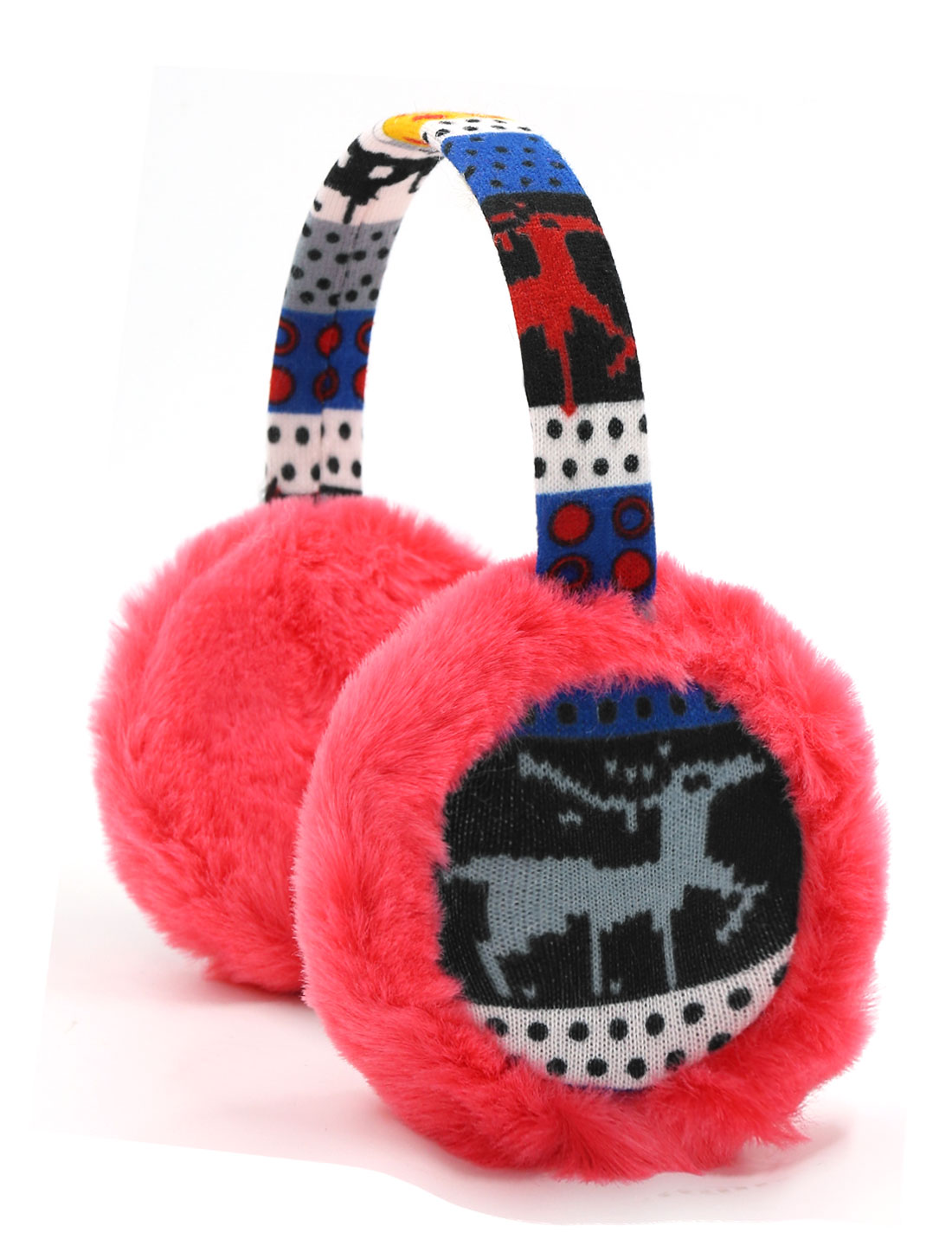 Ladies Knitted Deer Pattern Quilted Plush Earmuffs Red