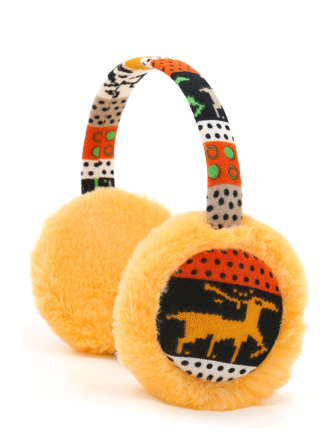 Ladies Knitted Deer Pattern Quilted Plush Earmuffs Yellow
