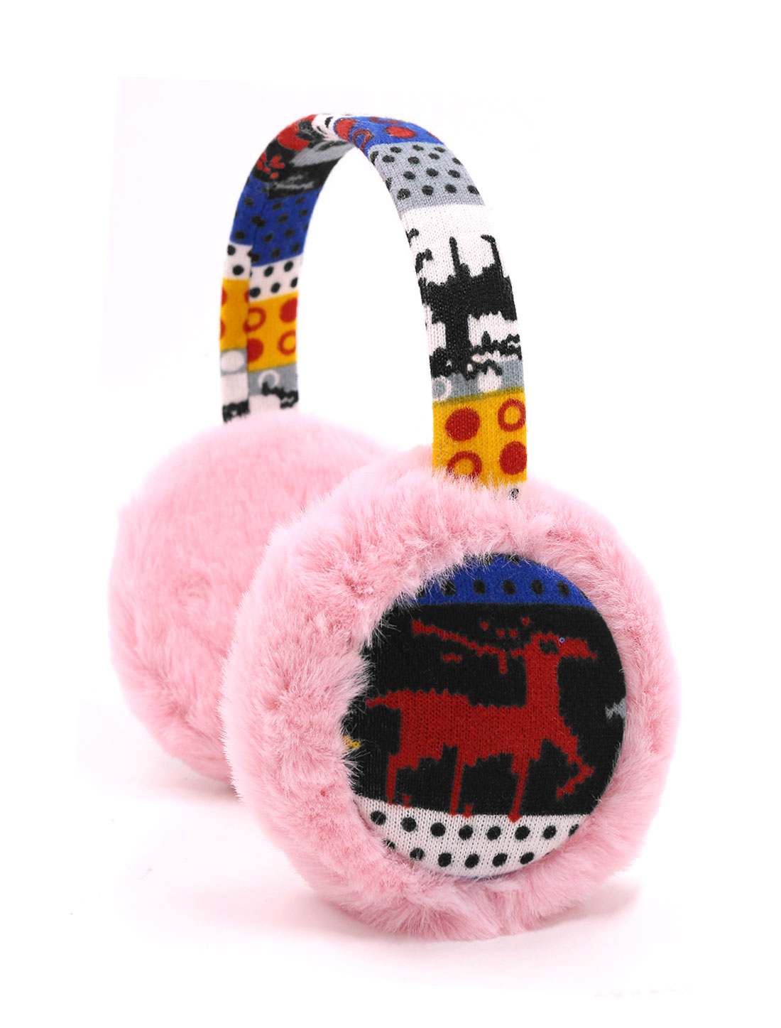 Ladies Knitted Deer Pattern Quilted Plush Earmuffs Pink