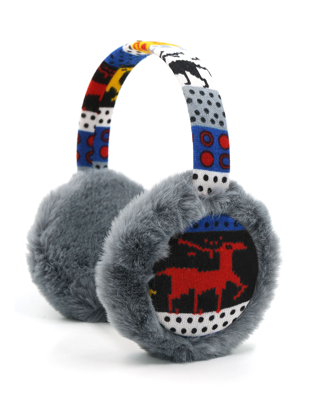 Ladies Knitted Deer Pattern Quilted Plush Earmuffs Gray