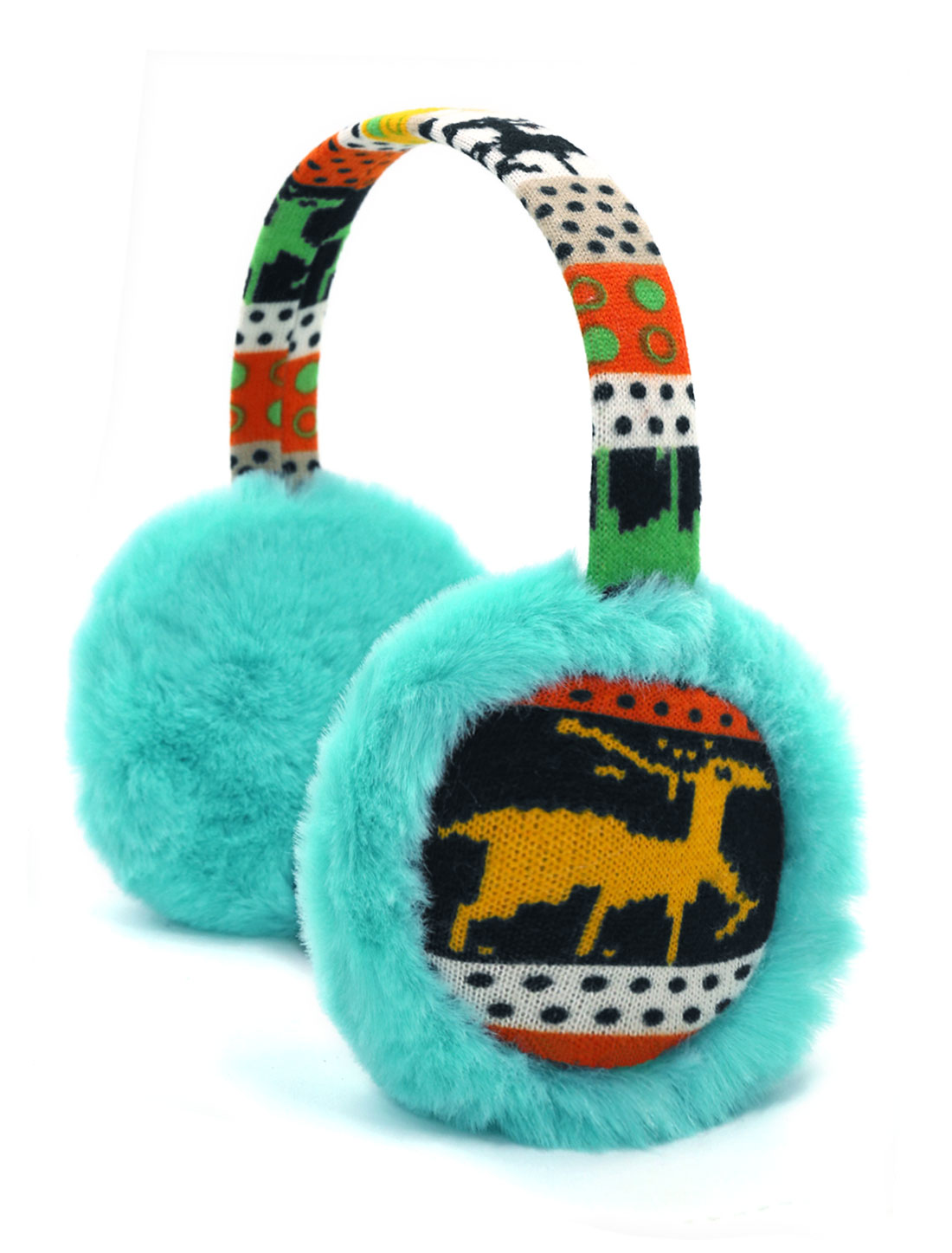 Ladies Knitted Deer Pattern Quilted Plush Earmuffs Blue