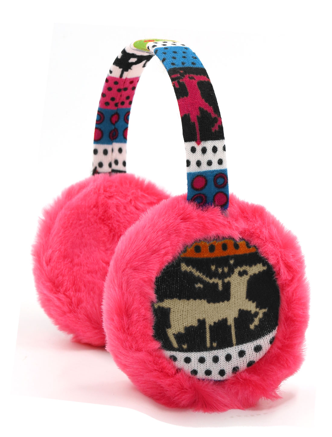 Ladies Knitted Deer Pattern Quilted Plush Earmuffs Fushcia
