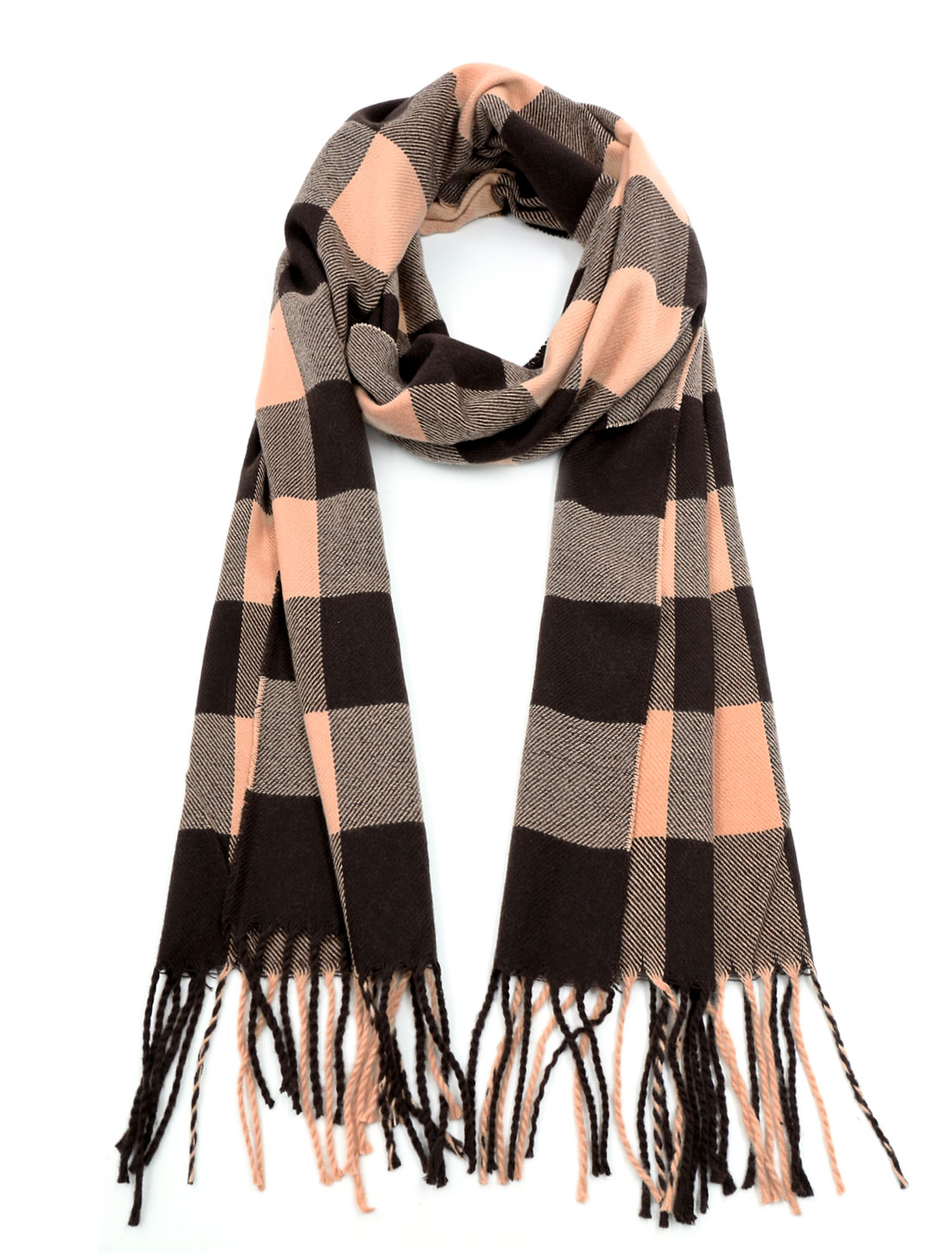 Men Plaids Rectangle Design Tassles Trim Long Scarf Brown Beige