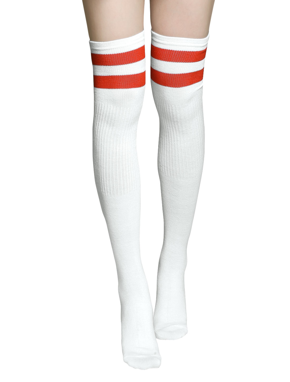 Unisex Knee High Ribbed Stripes Football Socks Pair White
