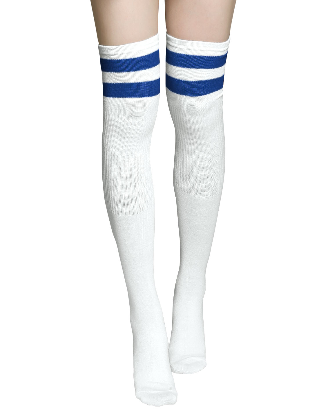 Unisex Striped Knee High Stretchy Football Socks Pair White