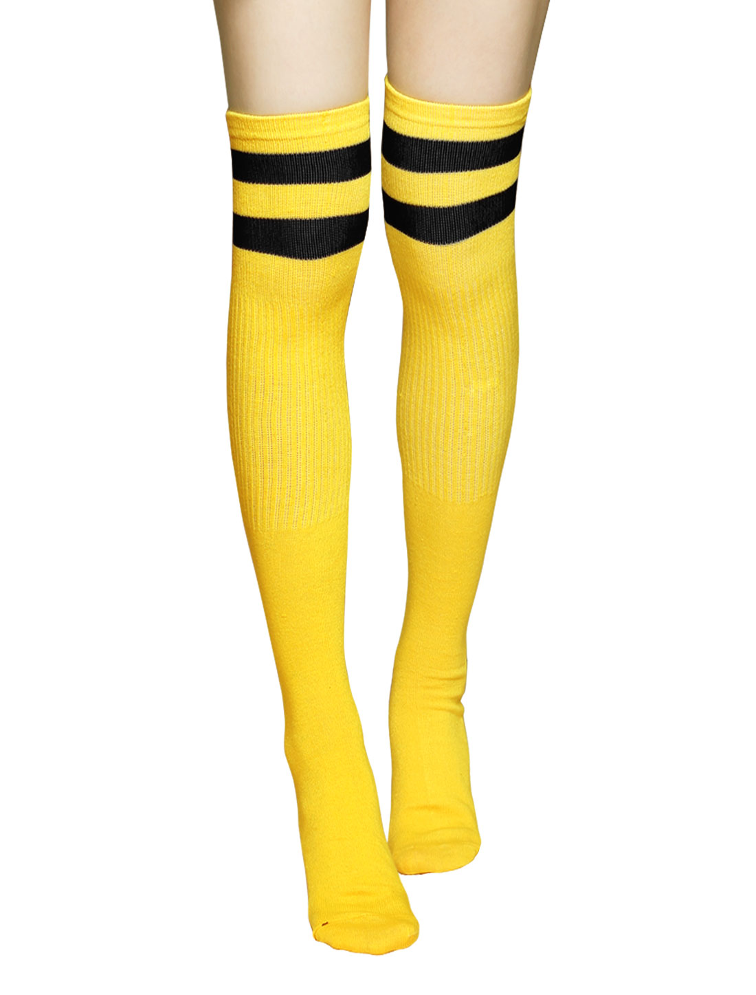 Unisex Knee High Ribbed Stripes Football Socks Pair Yellow