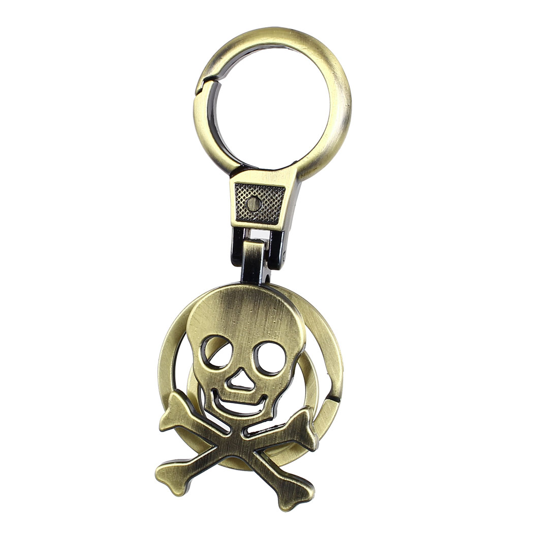 Metal Skull Bones Shaped Pendant Carabiner Ring Clip Key Chain Keyring Bronze Tone