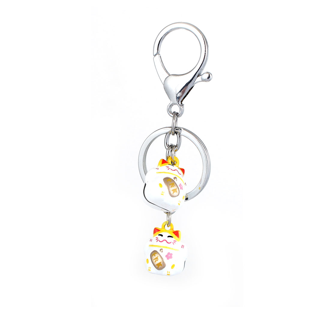 Cartoon Lucky Cat Dangling Bells Decor Keyring Hanging Pendant