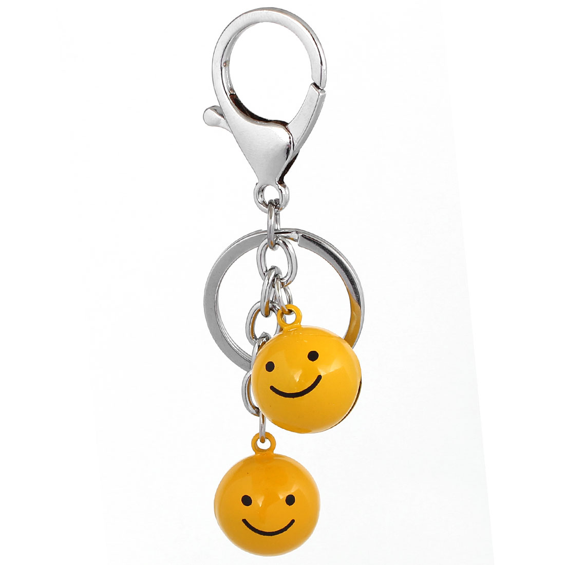 Yellow Smile Happy Face Key Chain Keyring Hanging Pendant