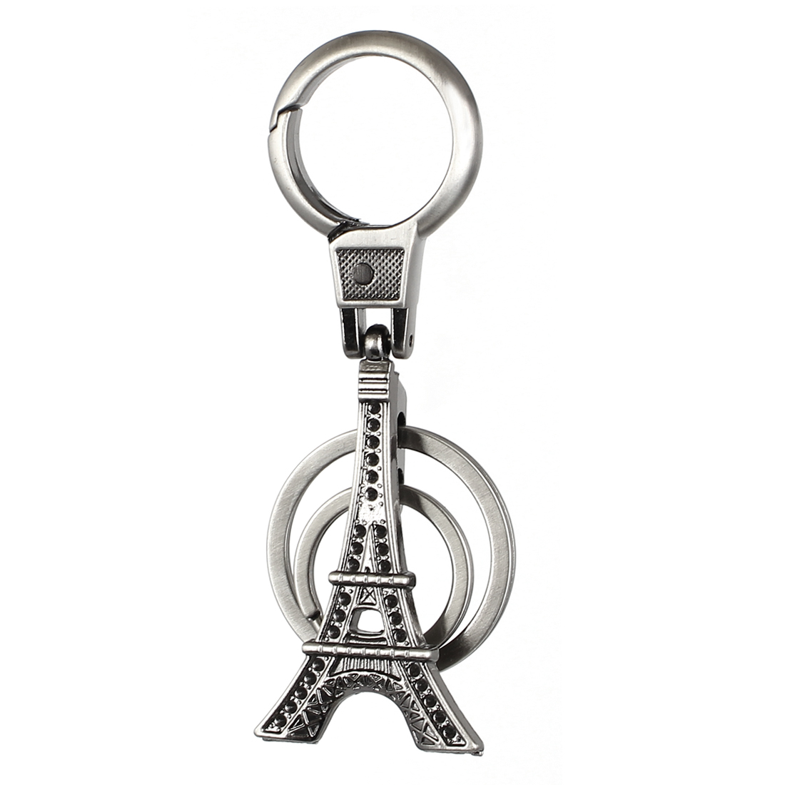Metal Tower Shaped Pendant Carabiner Ring Clip Key Chain Keyring Decor Silver Tone