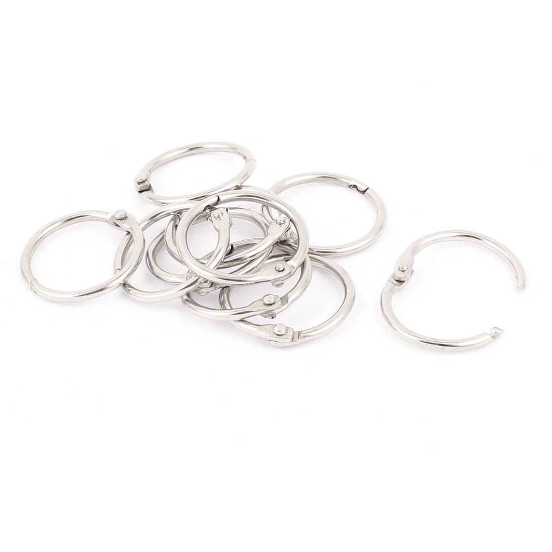 26mm Inner Dia Keyrings Style Metal Loose Leaf Rings Silver Tone 10 Pcs