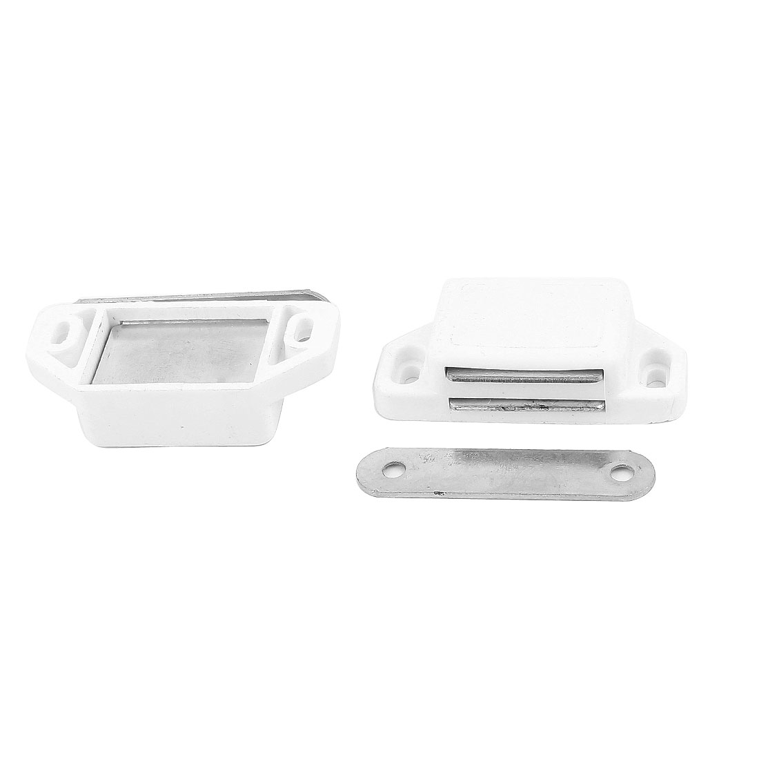 2 Pcs White Plastic Shell Metal Plate Cabinet Door Magnetic Latch Catch