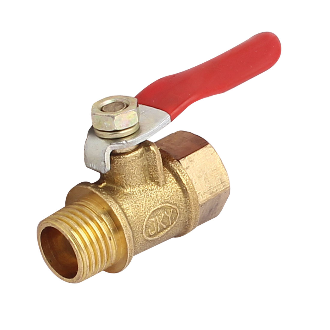 Red Handle Straight Way 13mm 1/4BSP Male Threaded Dia Gas Ball Valve