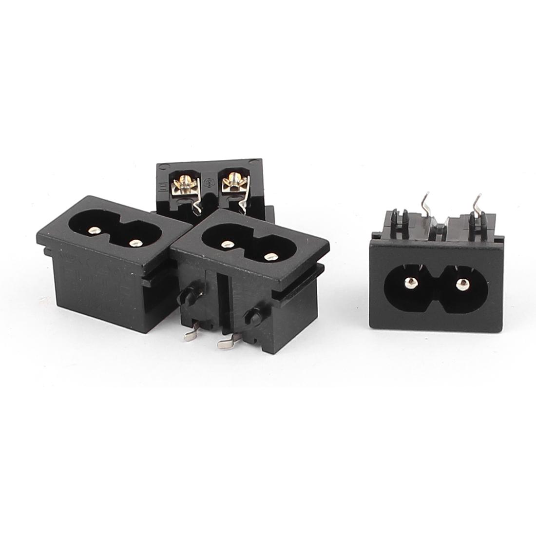AC 250V 2.5A IEC320 C8 Male Connector Power Socket Adapter Black BX-180-B 4PCS
