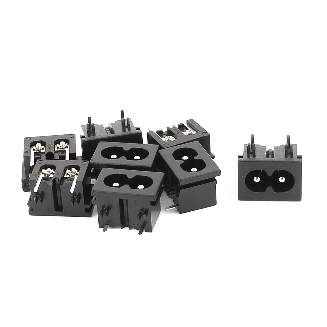 IEC320 C8 Male Power Adapter Connector Black AC 250V 2.5A 8 Pcs
