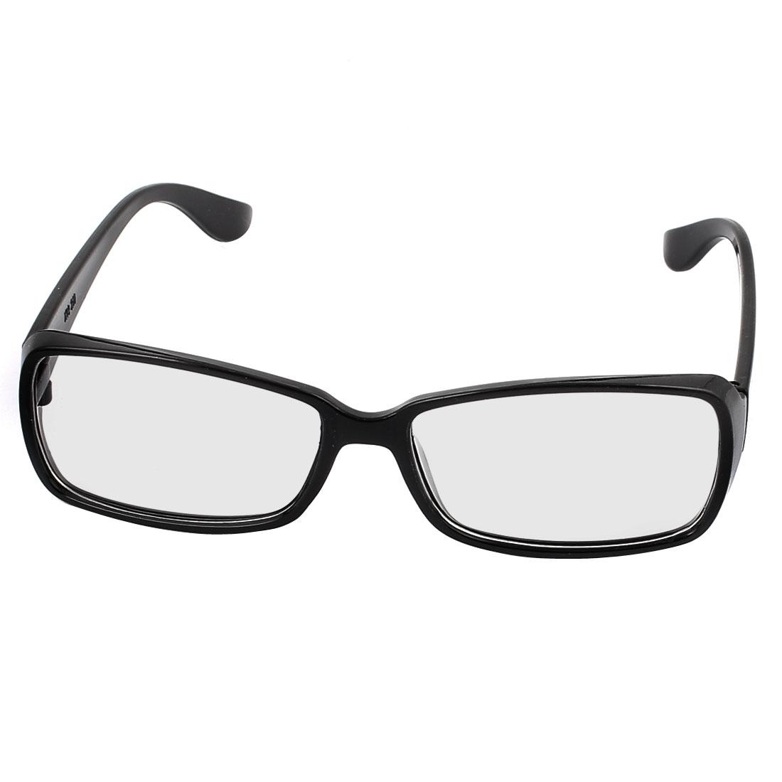 Men Women Plastic Clear Lens Black Frame Full Rim Plano Glasses Eyeglass