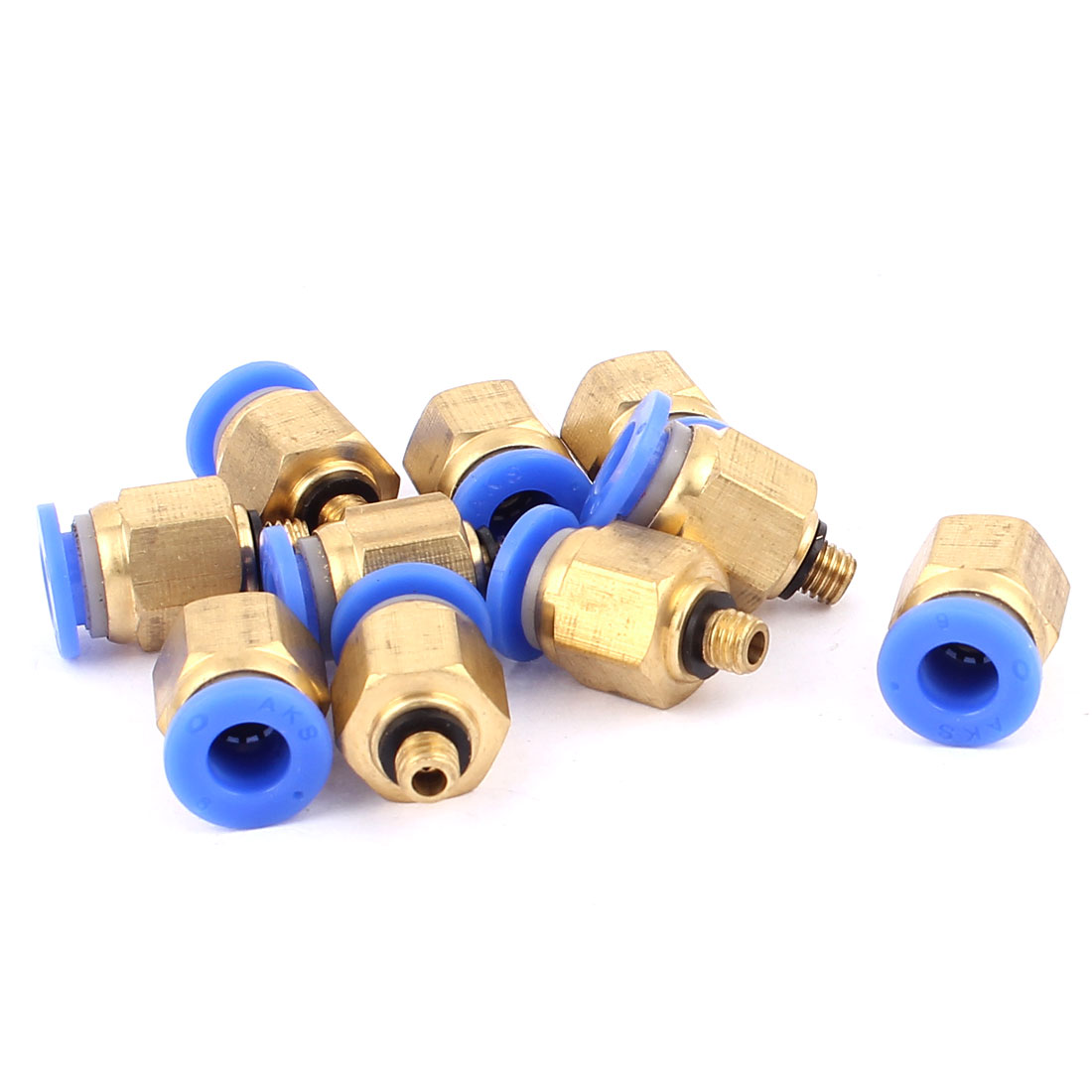 6mm Inner Dia M5 Male Thread Pneumatic Straight Quick Connector Fittings 10PCS