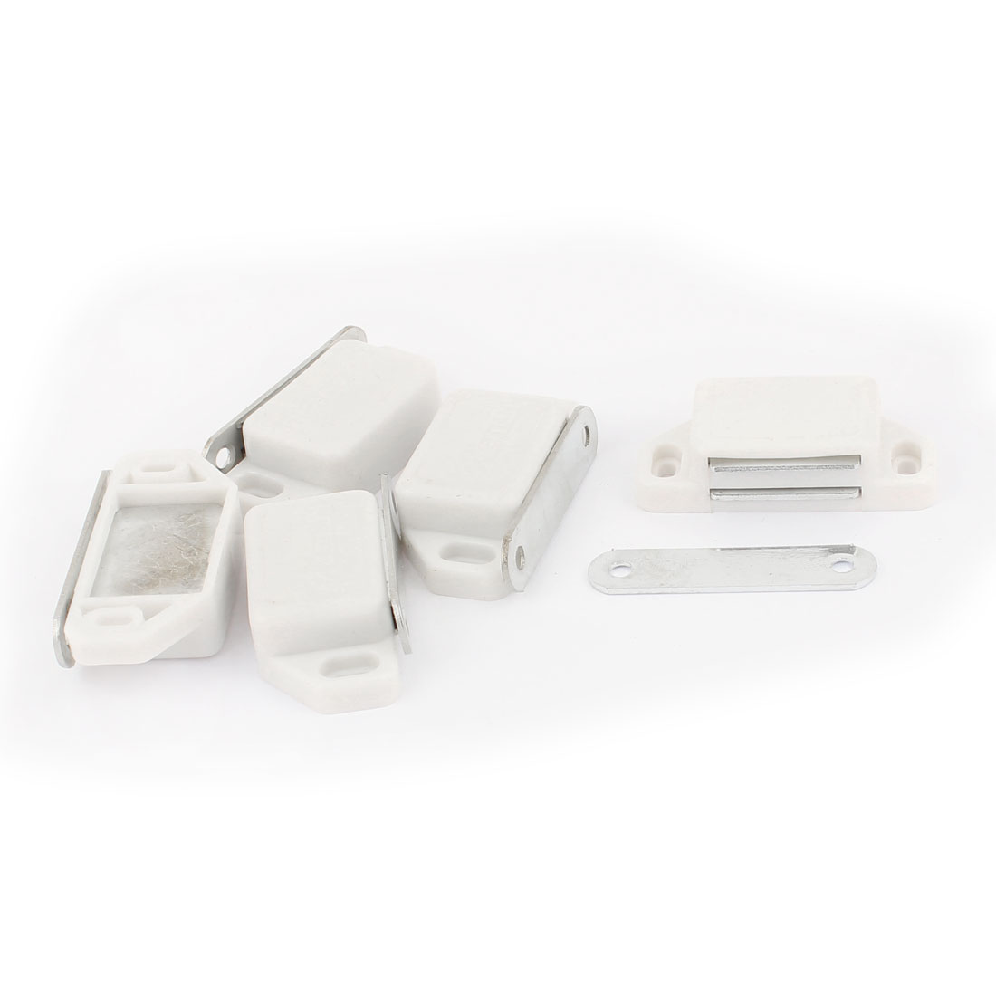 Cupboard Cabinet Closet Door Plastic Shell Magnetic Latch Catch White 5pcs