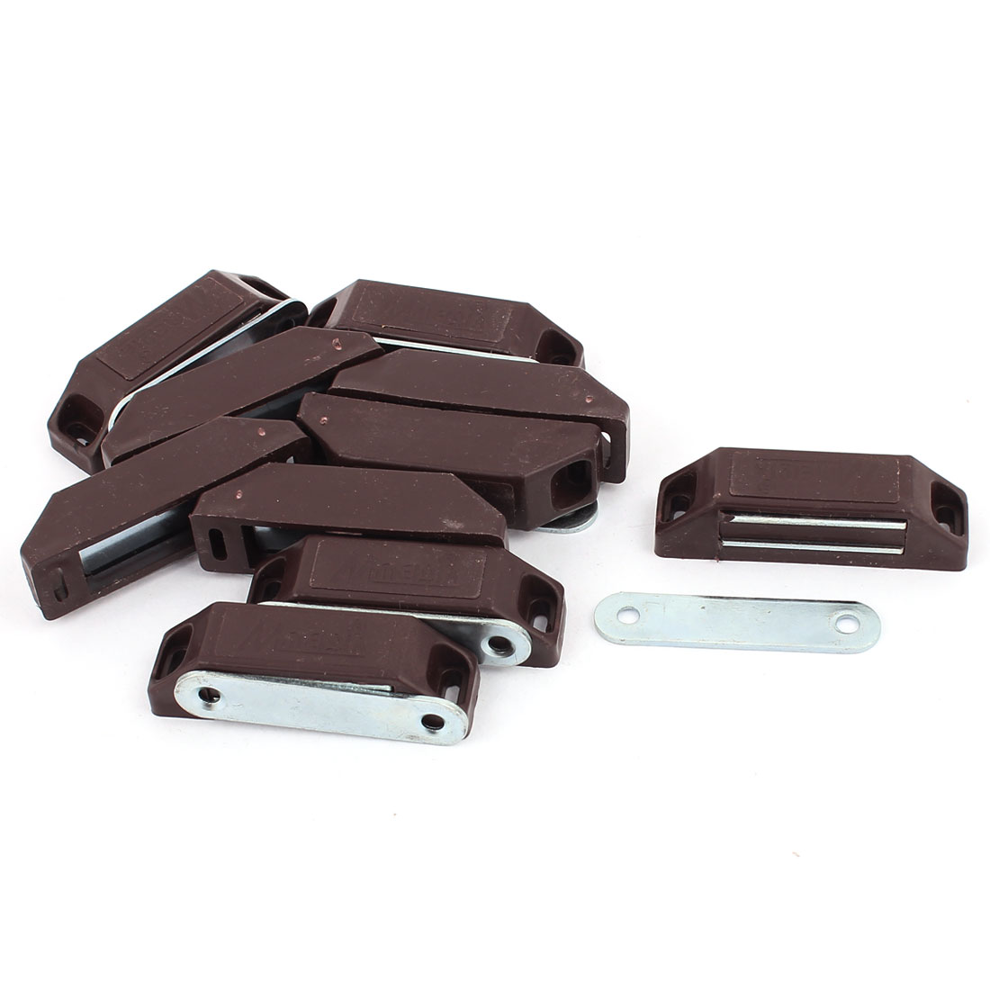Cabinet Door Cupboard Plastic Shell Metal Plate Magnetic Latch Catch Brown 10PCS
