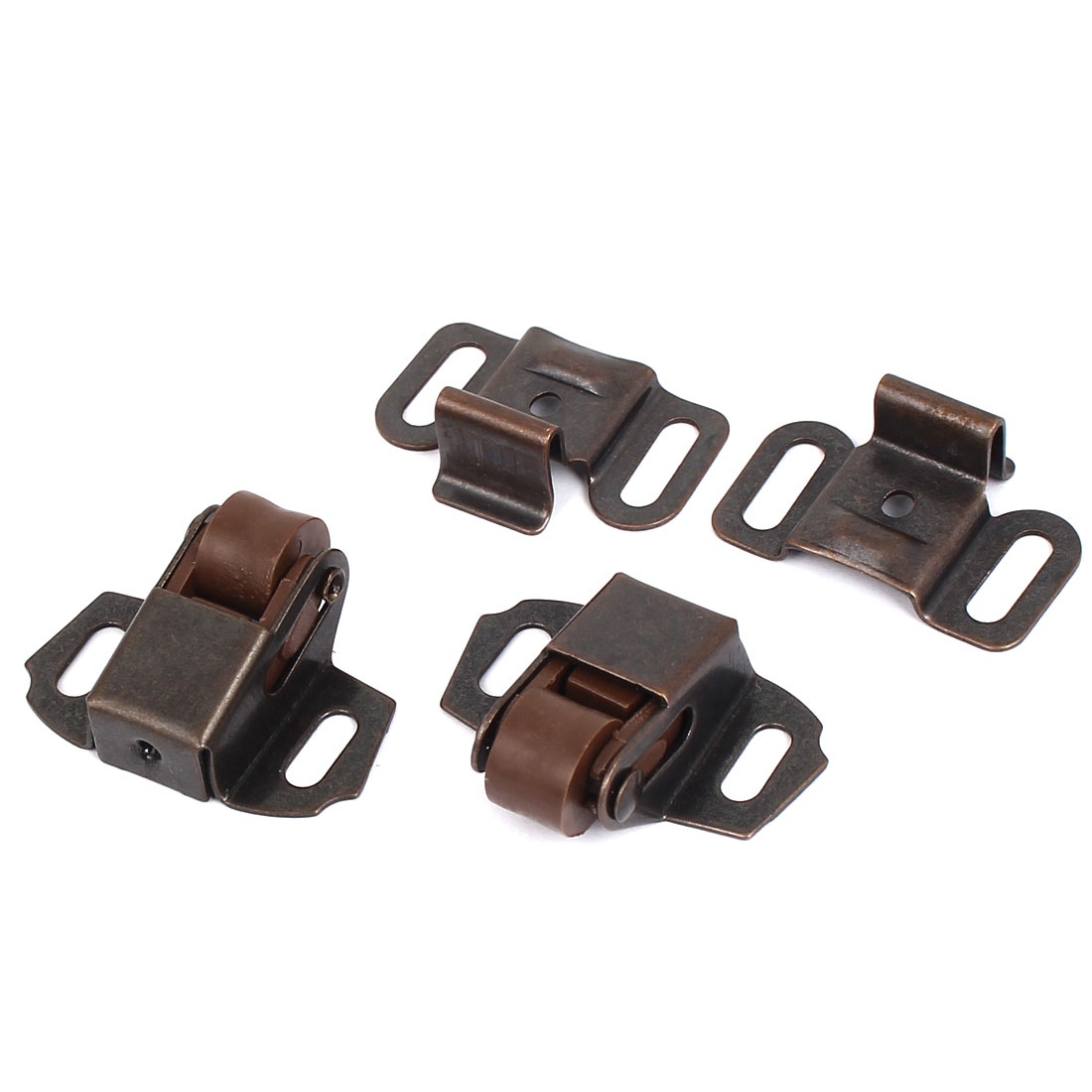 Cupboard Wardrobe Door Metal Single Roller Catch Latch Copper Tone 2pcs