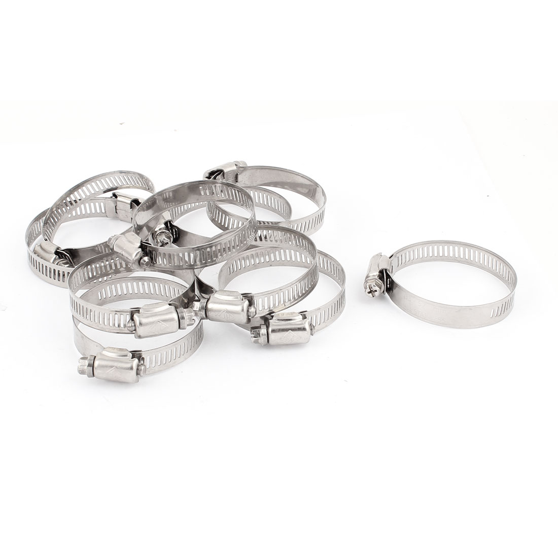 33mm-57mm Adjustable Stainless Steel Worm Gear Hose Clamps Silver Tone 10 Pcs