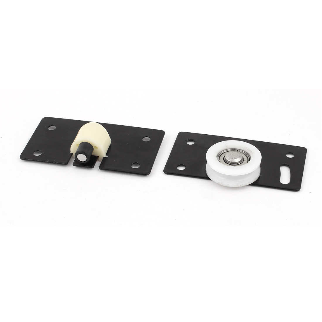 2 Pcs Rectangular Metal Plate Sliding Door Roller Black 33mm Dia for Wardrobe