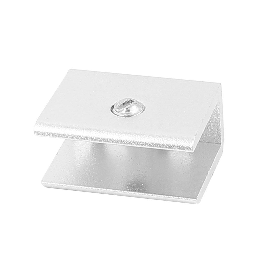 Rectangular Shape Aluminum Glass Clamp Holder Bracket Support Clip w Screws