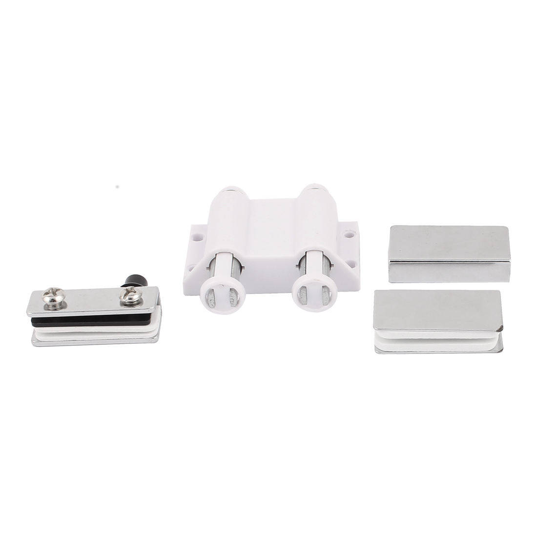 Door Glass Stopper Double Head Magnetic Catch Latch Set White 6mm Thickness