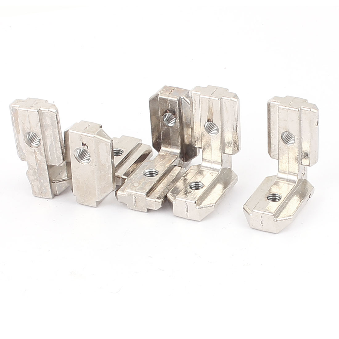 T Slot L Shape 90 Degree Inside Corner Connector Bracket Silver Tone 5pcs