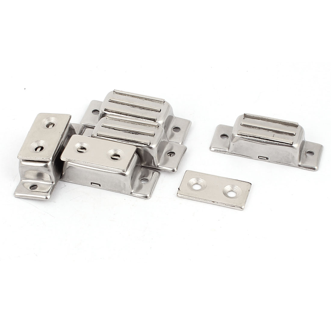 Door Cabinet Cupboard Furniture Square Type Magnetic Catch Silver Tone 5 Pcs