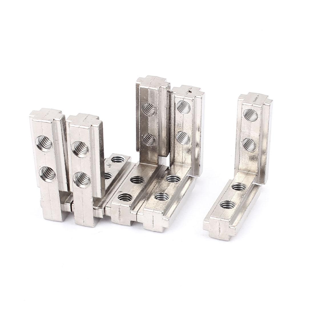 44mm x 40mm x 13mm 90 Degree Metal T Slot Corner Connector Silver Tone 5pcs