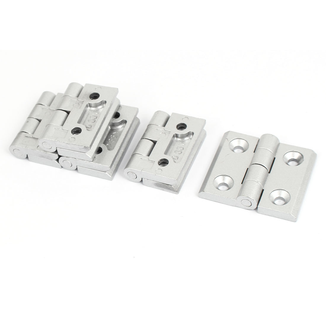 6mm Hole Dia Rectangle Ball Bearing Reinforced Butt Hinge Silver Tone 5 Pcs