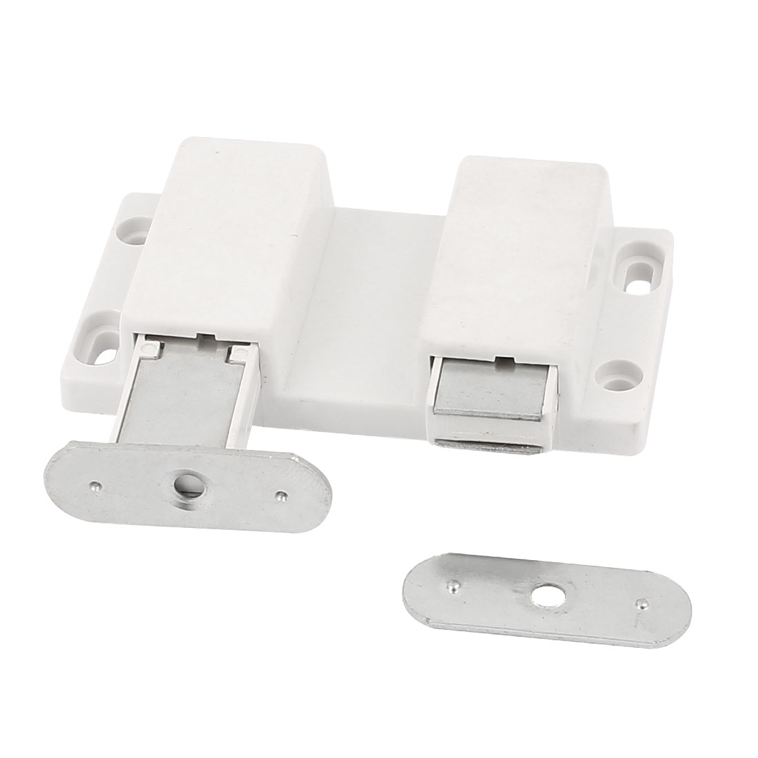 Double Head Magnetic Catch Latch White for Cabinet Glass Shelf Table Doors