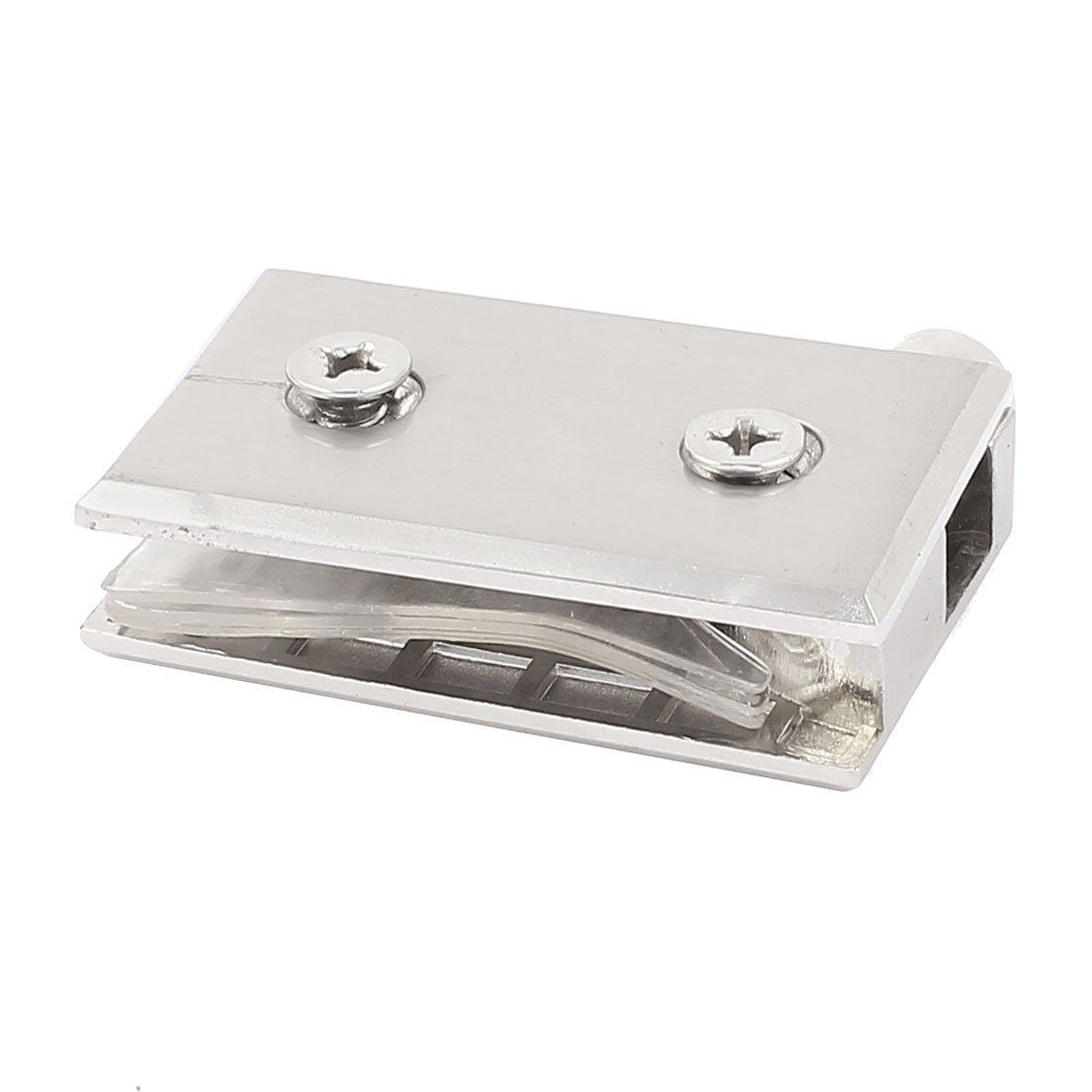 Aluminum Pivot Glass Door Clamp Hinge Silver Tone 63mm Long