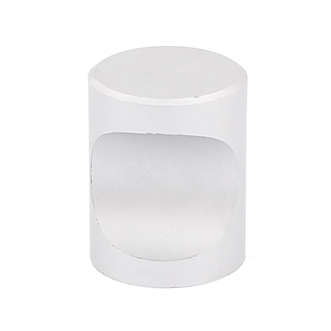Dresser Door Cabinet Single Hole Flat Cylinder Pull Handles Knobs Silver Tone w Screw