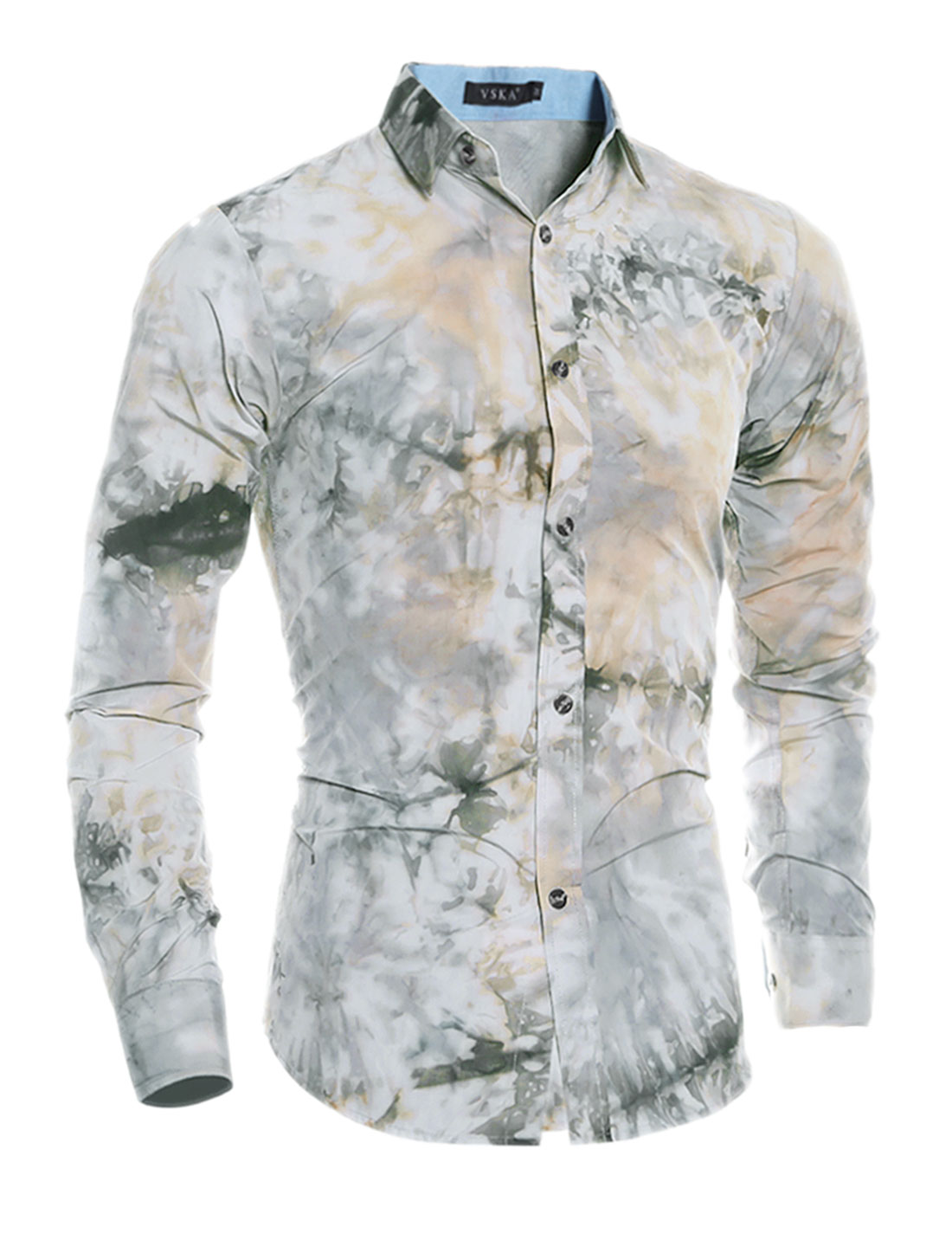 Man Button Front Collared Tie-Dye Slim Fit Shirt Gray S