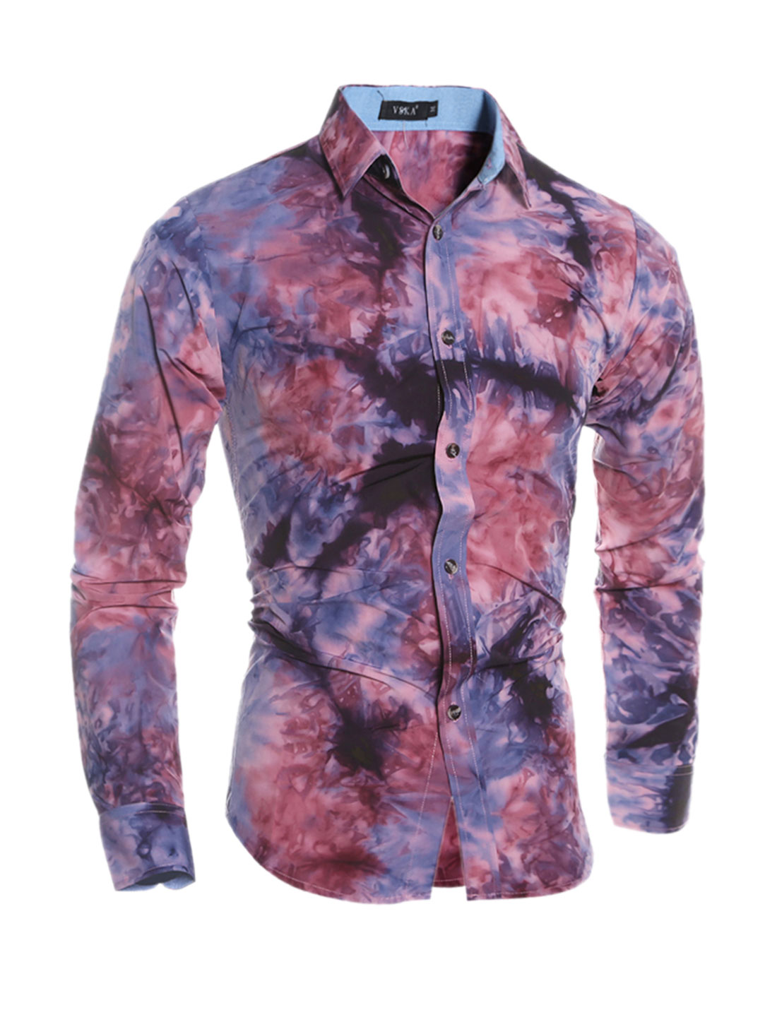 Man Button Front Collared Tie-Dye Slim Fit Shirt Red S