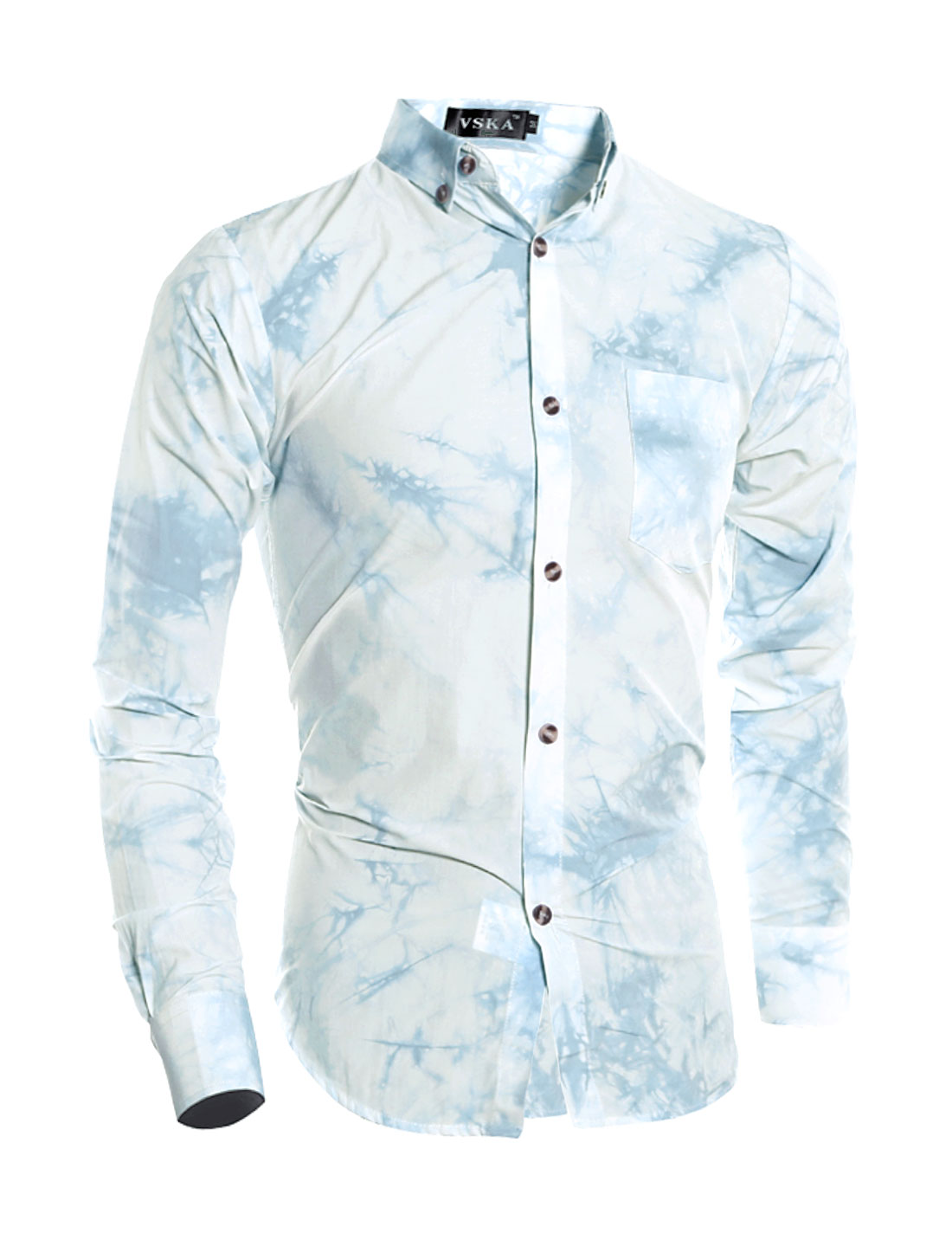 Man Button Closure Tie-Dye Shirt w Pocket Light Blue S