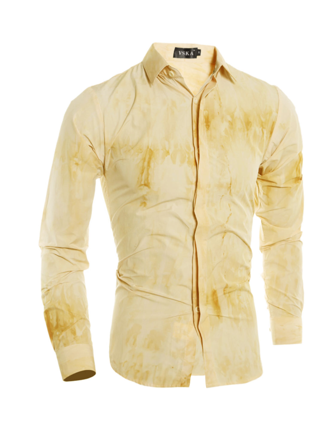 Man Hidden Placket Tie-Dye Slim Fit Shirt Yellow S