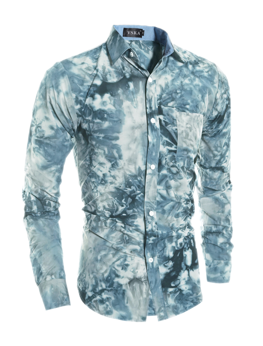 Men Collared Tie-Dye Slim Fit Shirt w Pocket Blue S