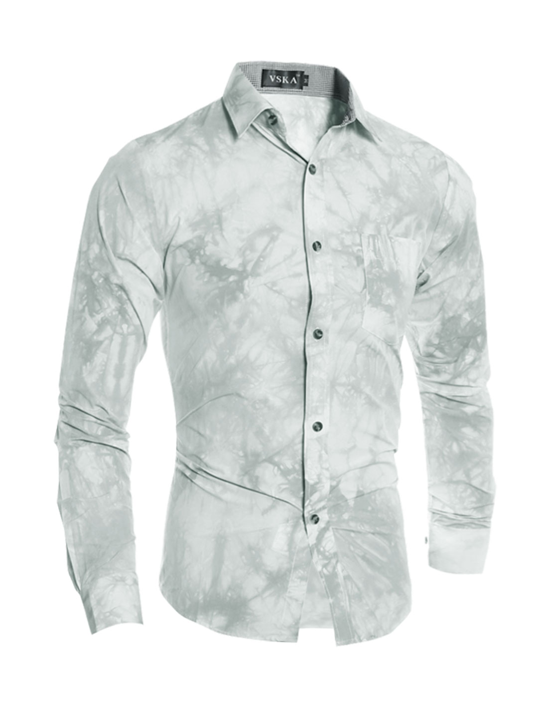 Men Collared Tie-Dye Slim Fit Shirt w Pocket Gray S