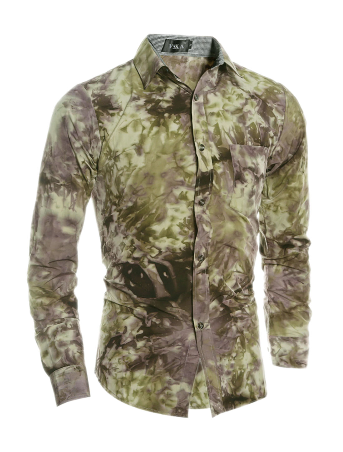 Men Collared Tie-Dye Slim Fit Shirt w Pocket Green S