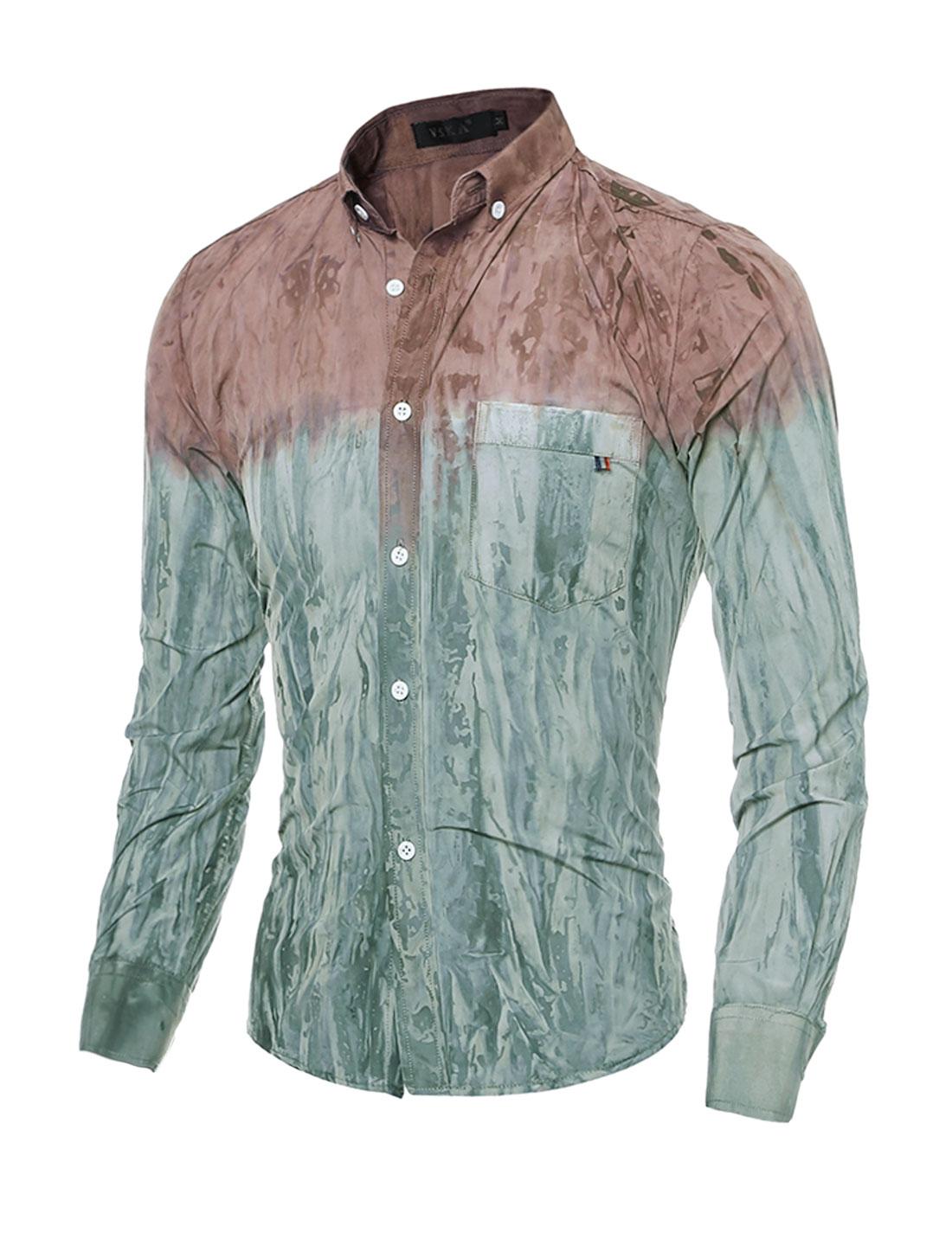 Man Button Down Slim Fit Tie-Dye Shirt w Pocket Gray Purple S