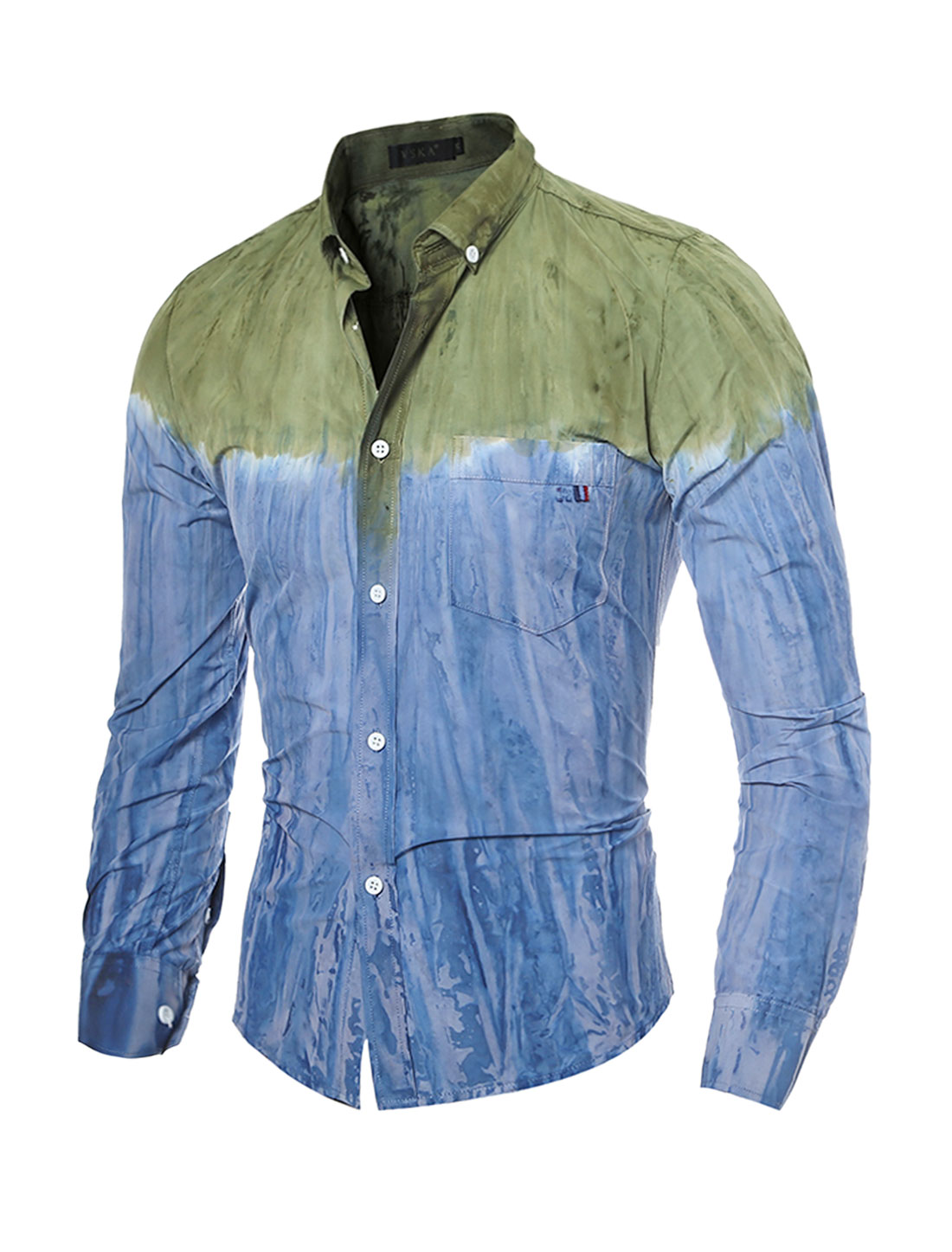 Man Button Down Slim Fit Tie-Dye Shirt w Pocket Blue Green S