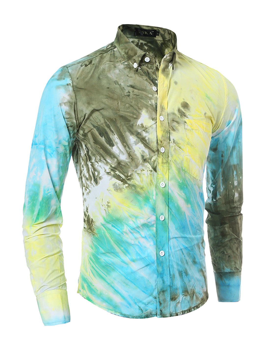 Man Chest Pocket Tie-Dye Slim Fit Buttoned Shirt Green S