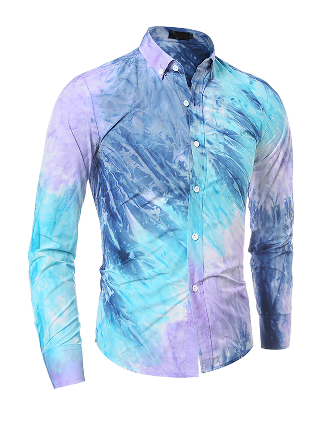 Man Chest Pocket Tie-Dye Slim Fit Buttoned Shirt Purple S