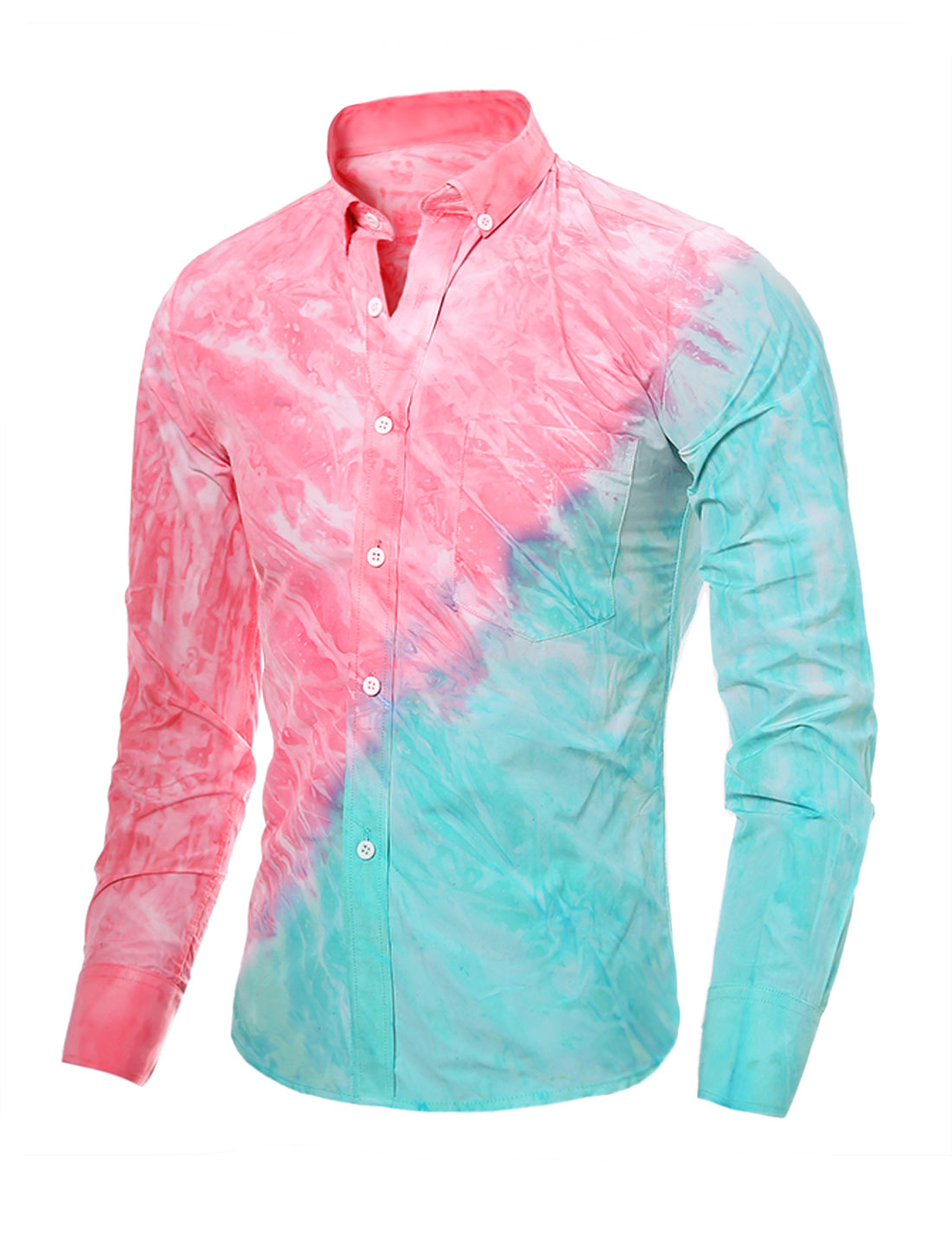 Man Pinpoint Slim Fit Tie-Dye Shirt w Pocket Pink Blue S