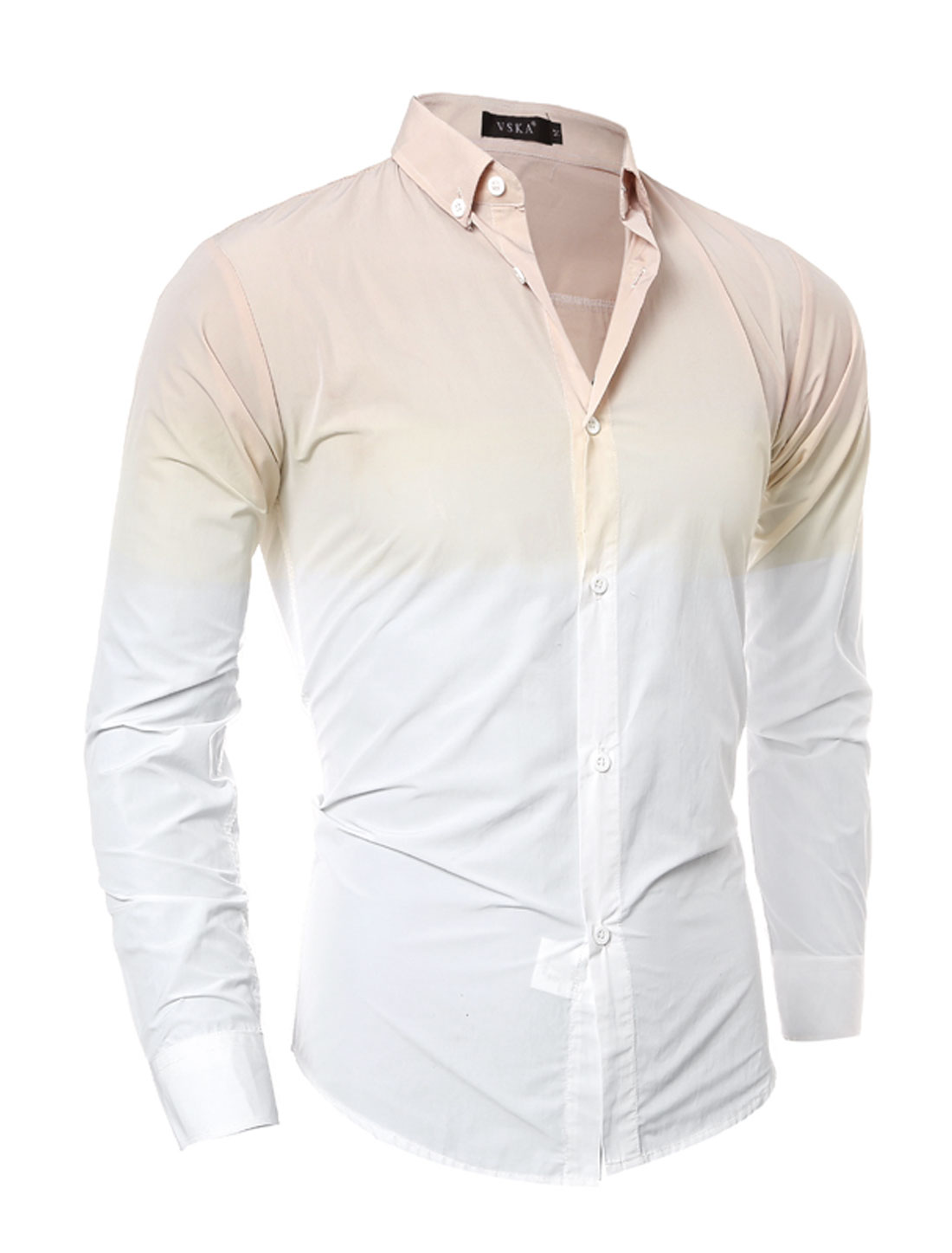 Man Dip-Dye Slim Fit Button Down Shirt Beige White S