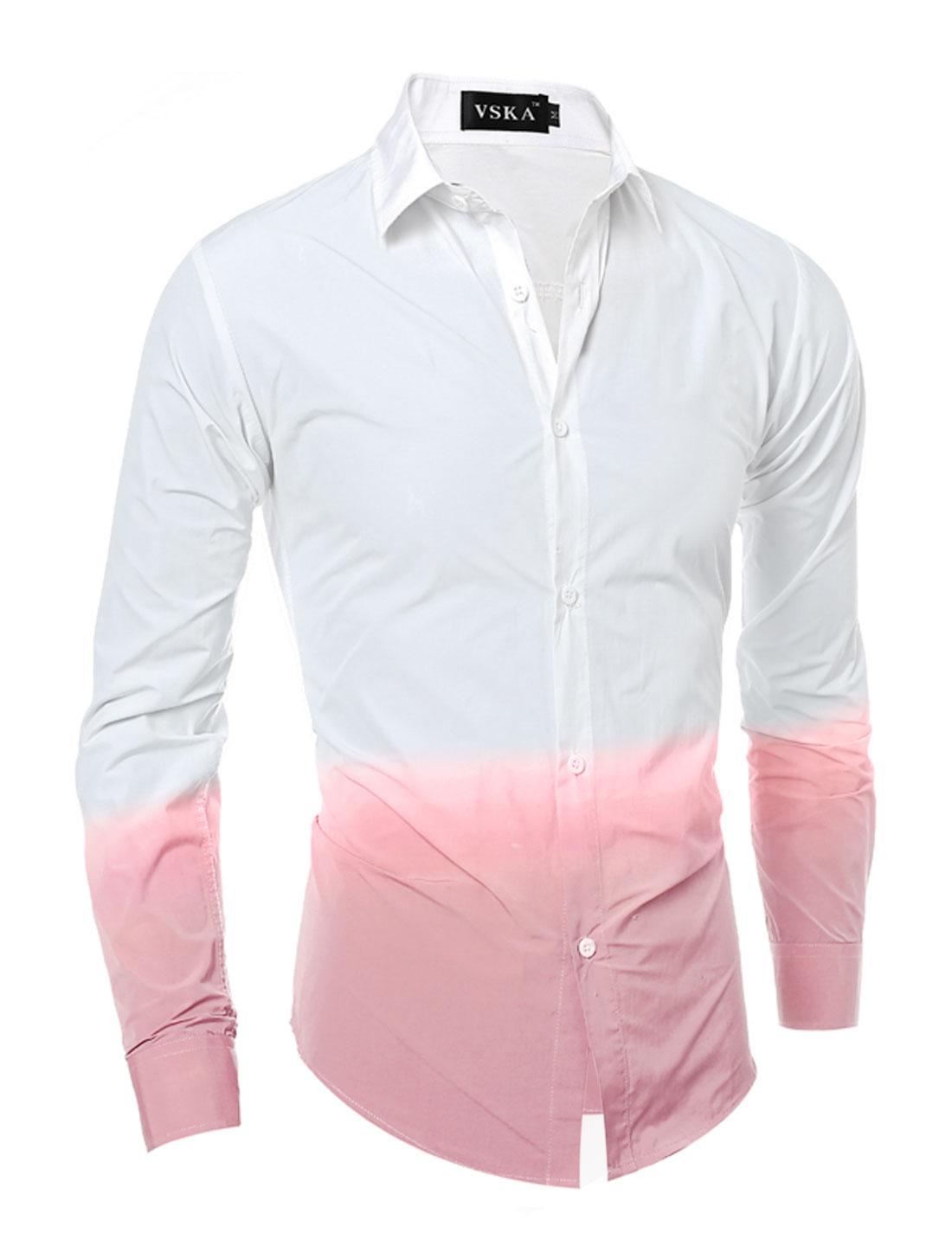 Men Button Down Dip-Dye Slim Fit Shirt Pink White S