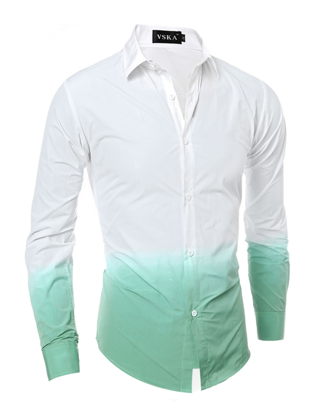 Men Button Down Dip-Dye Slim Fit Shirt Green White S